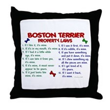 Boston Terrier Property Laws 2 Throw Pillow