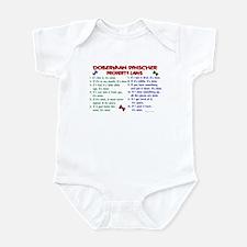 Doberman Pinscher Property Laws 2 Infant Bodysuit