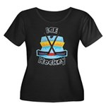 Ice Hockey Women's Plus Size Scoop Neck Dark T-Shi