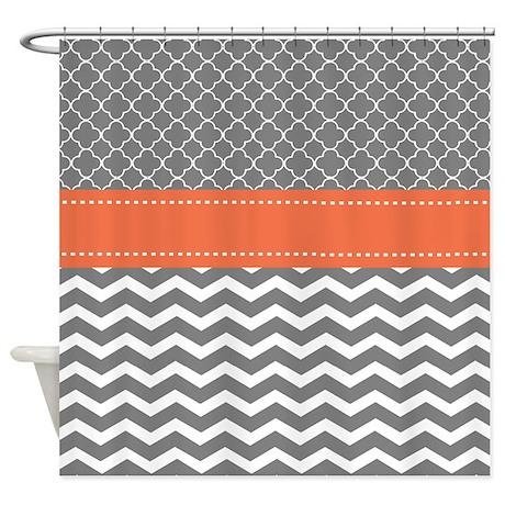 Coral Gray Chevron Shower Curtain By Cupcakesandsprinklesbirthdaytees