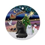 Xmas Magic & 2 Persian Cats (B+W) Ornament (Round)