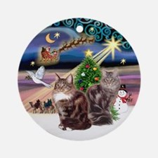 Xmas Magic & 2 Maine Coon cats Ornament (Round)