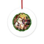 Santa's 2 Tabbys (Brn+Org) Ornament (Round)