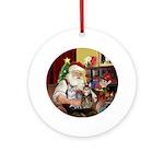 Santa & 2 Tabby Cats Ornament (Round)