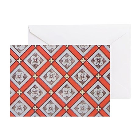 DIAMOND FLOWER RED GREEN Greeting Cards (Pk of 10)