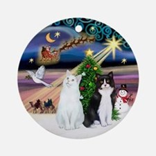 Xmas Magic & 2 Cats (SH) Ornament (Round)