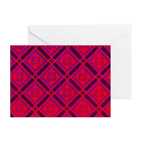 DIAMOND FLOWER RED PURPLE Greeting Cards (Pk of 10