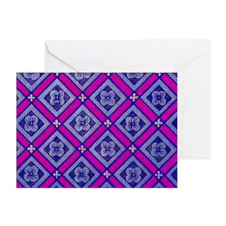 DIAMOND FLOWER BLUE PINK Greeting Cards (Pk of 10)