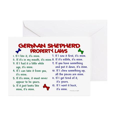 German Shepherd Property Laws 2 Greeting Cards (Pk
