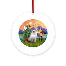 Xmas Fantasy & Ragdoll cat Ornament (Round)