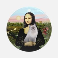 Mona Lisa's Ragdoll cat Ornament (Round)