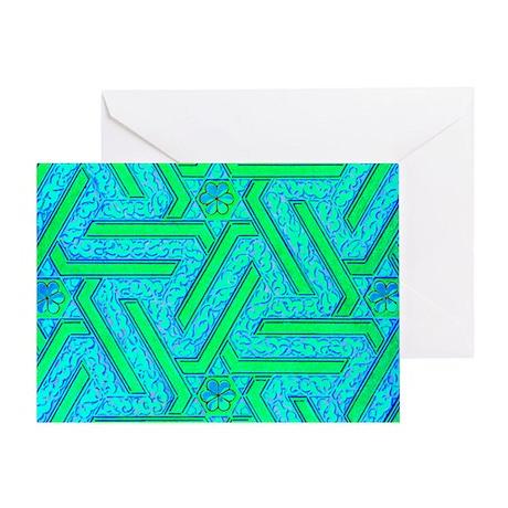BLUE GREEN FLOWER MAZE Greeting Card