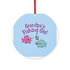 Grandpa's Fishing Girl Ornament (Round)