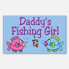Daddy's Fishing Girl Rectangle Decal