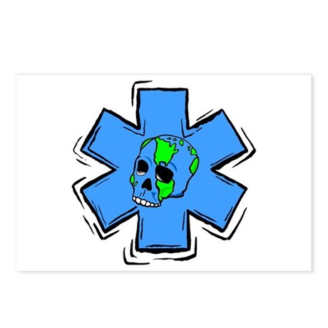 EMS Star Of Life Skull Postcards (Package of 8)