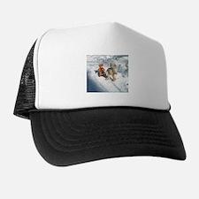 Boy Teddy pulling sled Trucker Hat