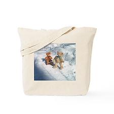 Boy Teddy pulling sled Tote Bag