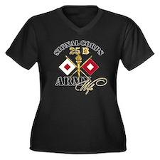 Signal Corps 25 B Women's Plus Size V-Neck Dark T-