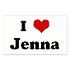 I Love Jenna Rectangle Decal