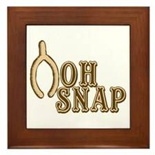 Oh Snap Wishbone Thankgiving Luck Framed Tile