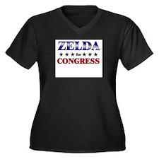 ZELDA for congress Women's Plus Size V-Neck Dark T