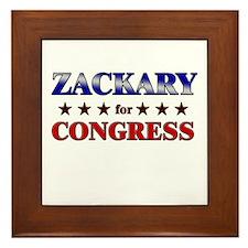 ZACKARY for congress Framed Tile