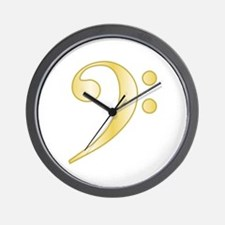 """Gold"" Bass Clef Wall Clock"