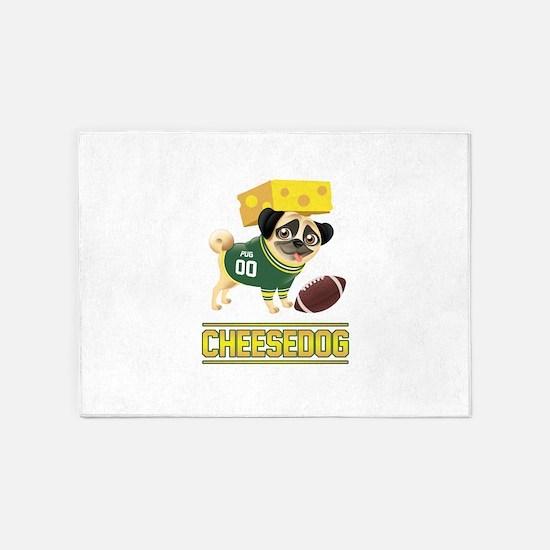 Cheese Pug 5'x7'Area Rug