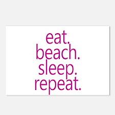 eat beach sleep repeat Postcards (Package of 8)