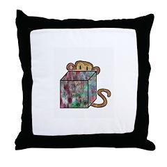 Peek Monkey Throw Pillow
