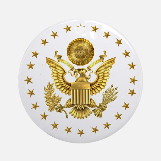 Gold Presidential Seal, The White H Round Ornament