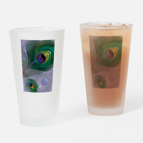 Purple Peacock Feathers Drinking Glass