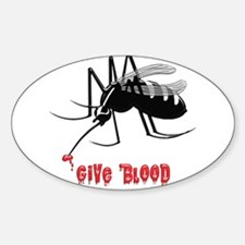 Mosquito Biting TEXT: Give Blood Decal