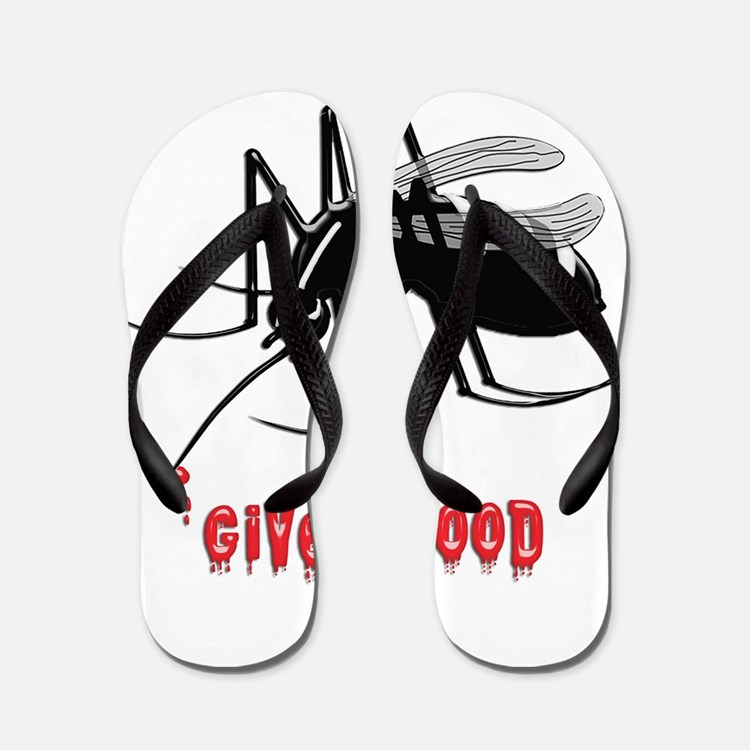 Mosquito Biting TEXT: Give Blood Flip Flops