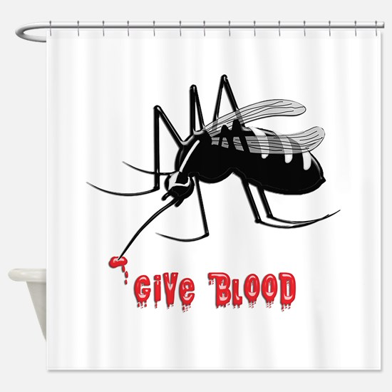 Mosquito Biting TEXT: Give Blood Shower Curtain
