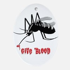 Mosquito Biting TEXT: Give Blood Oval Ornament