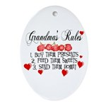 Grandma's Rules Oval Ornament