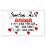 Grandma's Rules Rectangle Sticker