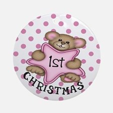 1st Christmas Star Baby girl Ornament (Round)