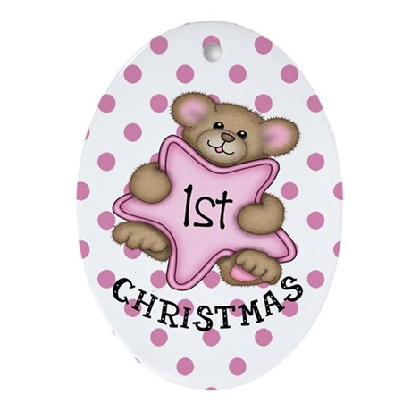 1st Christmas Star Baby girl Oval Ornament