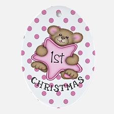 1st Christmas Star Baby girl Oval Ornament