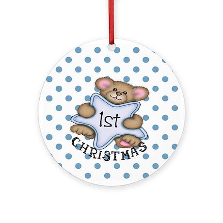 1st Christmas Star Baby Boy Ornament (Round)