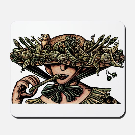 Woman in Hat Decorated with Vegetables Mousepad