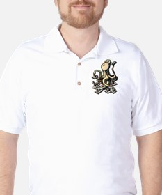 Octopus Writes With Many Arms Golf Shirt
