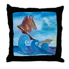 Surfing Pelican and dolphin Throw Pillow