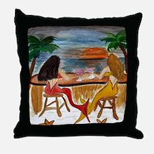 Martini Mermaids Throw Pillow