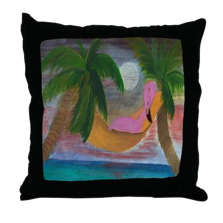 Lazy Flamingo Throw Pillow