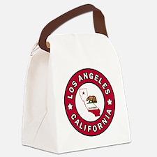 Funny Santa monica city Canvas Lunch Bag