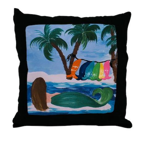 Laundry Day Mermaid Throw Pillow