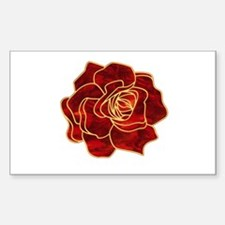 Red Rose Rectangle Decal